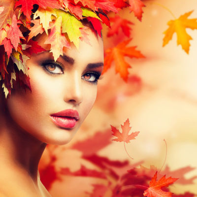 Autumn Woman Portrait. Beauty Fashion Model Girl